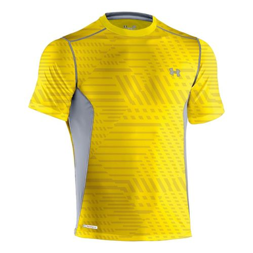 Mens Under Armour Heatgear Sonic Fitted Printed Short Sleeve Technical Tops - Solar/Steel M