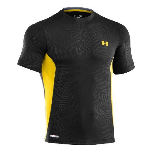 Mens Under Armour Heatgear Sonic Fitted Printed Short Sleeve Technical Tops - Taxi/Taxi S