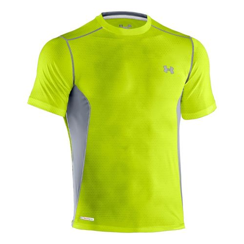 Mens Under Armour Heatgear Sonic Fitted Printed Short Sleeve Technical Tops - Velocity/Steel 3X