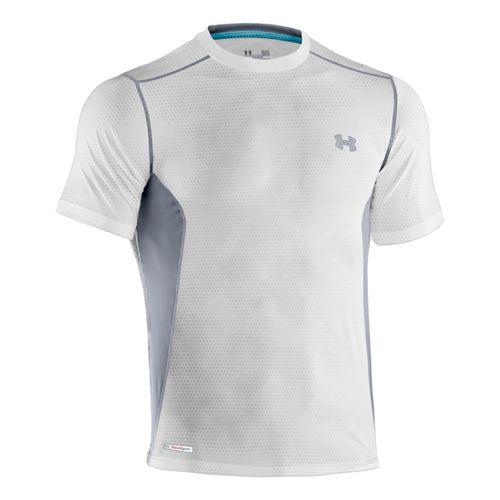 Mens Under Armour Heatgear Sonic Fitted Printed Short Sleeve Technical Tops - White/Steel M