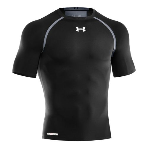 Mens Under Armour Heatgear Dynasty Compression T Short Sleeve Technical Tops - Black/Steel XXL