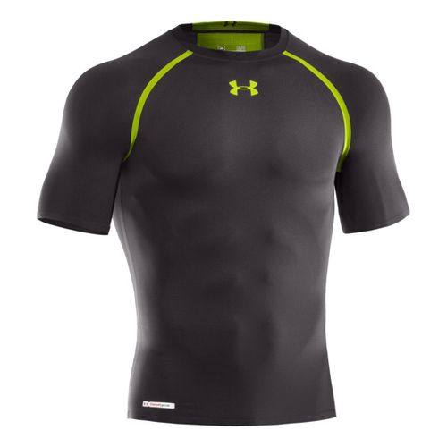 Mens Under Armour Heatgear Dynasty Compression T Short Sleeve Technical Tops - Charcoal/Velocity XL