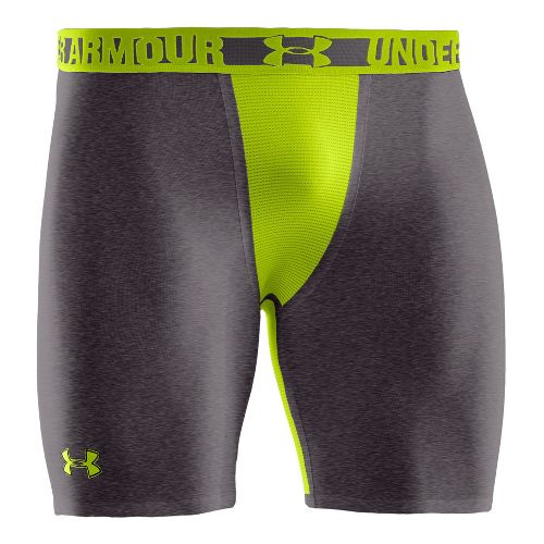 Mens Under Armour Heatgear Dynasty Compression Fitted Shorts - Carbon Heather/Velocity XXL