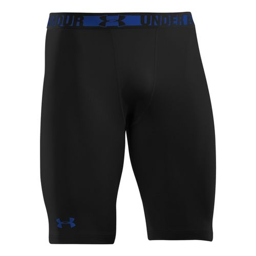 Mens Under Armour Heatgear Sonic Long Compression Fitted Shorts - Black/Royal XL