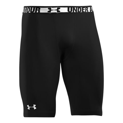 Mens Under Armour Heatgear Sonic Long Compression Fitted Shorts - Black/White M