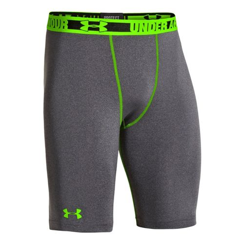 Mens Under Armour Heatgear Sonic Long Compression Fitted Shorts - Carbon Heather L
