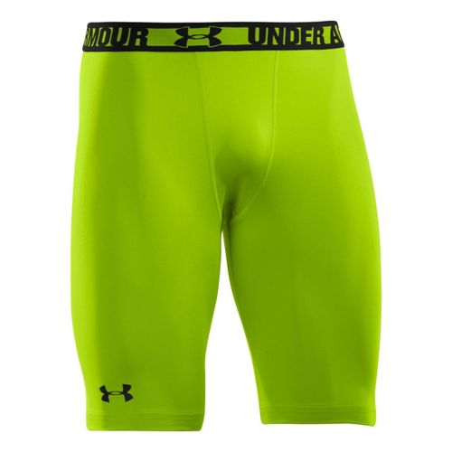 Mens Under Armour Heatgear Sonic Long Compression Fitted Shorts - Hyper Green/Black XL