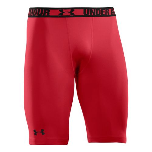 Mens Under Armour Heatgear Sonic Long Compression Fitted Shorts - Red/Black S