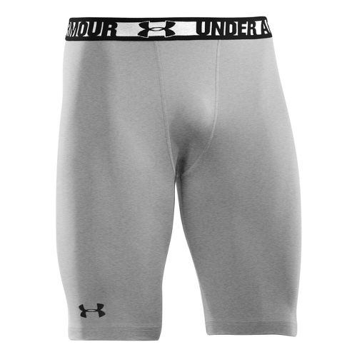 Mens Under Armour Heatgear Sonic Long Compression Fitted Shorts - True Grey Heather/Black L