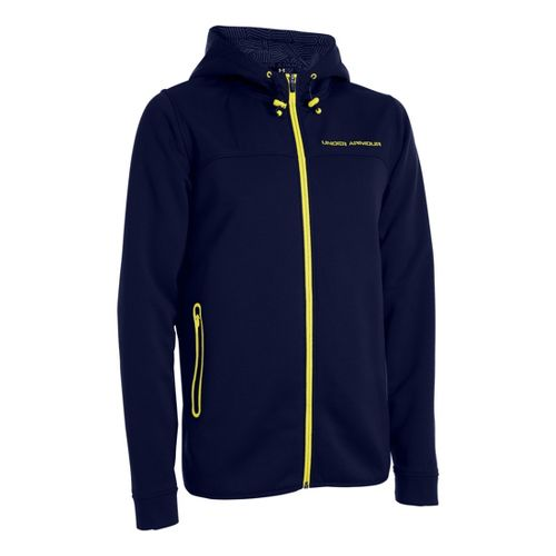Mens Under Armour Coldgear Infrared Armour Fleece Full Zip Hoody Running Jackets - Midnight ...