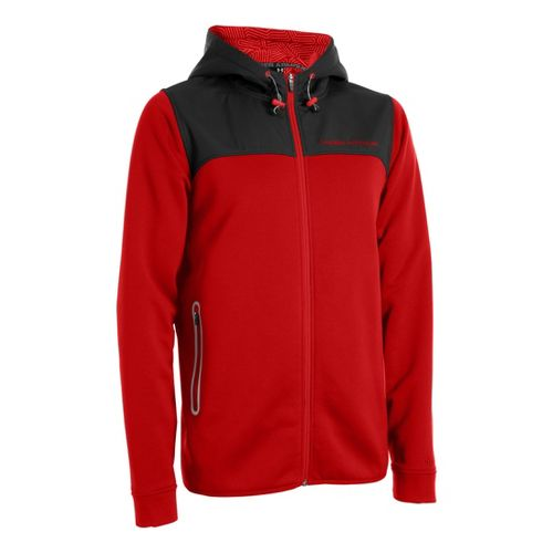 Mens Under Armour Coldgear Infrared Armour Fleece Full Zip Hoody Running Jackets - Red/Bolt ...