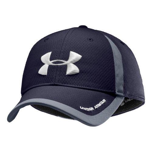 Mens Under Armour Touchback Stretch Fit Cap Headwear - Midnight Navy/White M/L