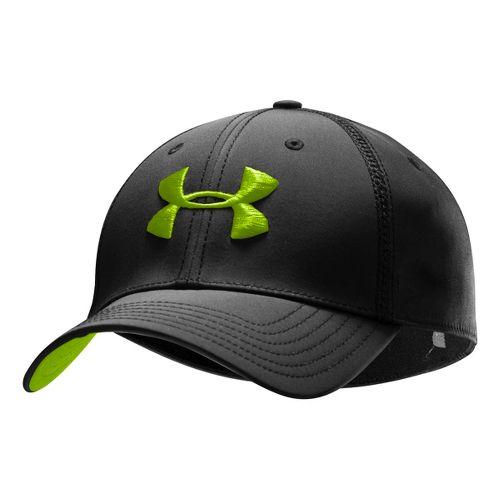 Mens Under Armour Huddle II Stretch Fit Cap Headwear - Black/Hyper Green L/XL