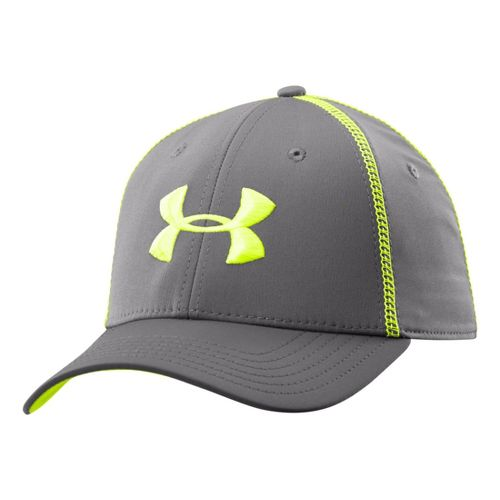 Mens Under Armour Huddle II Stretch Fit Cap Headwear - Graphite/Hi-Viz Yellow XL/XXL