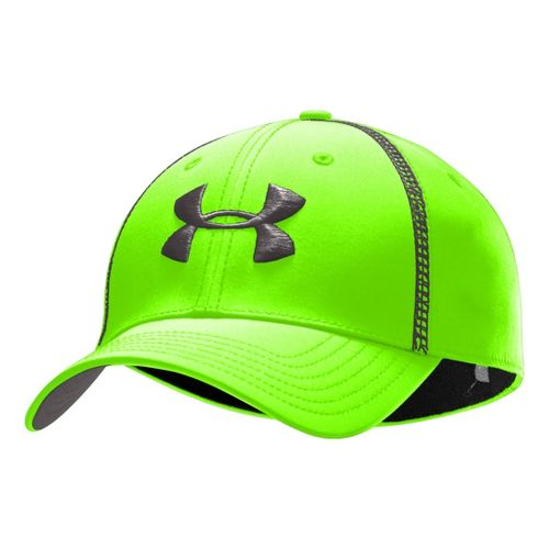 Mens Under Armour Huddle II Stretch Fit Cap Headwear - Hyper Green/Charcoal L/XL