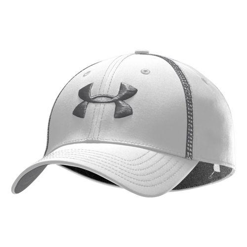 Mens Under Armour Huddle II Stretch Fit Cap Headwear - White/Graphite L/XL