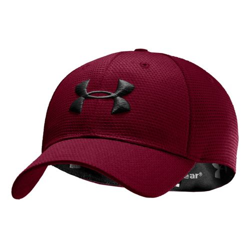 Mens Under Armour Blitzing Stretch Fit Cap Headwear - Maroon/White L/XL