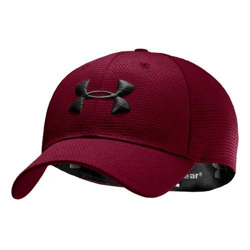 Mens Under Armour Blitzing Stretch Fit Cap Headwear - Maroon/White M/L