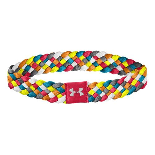 Womens Under Armour Multi Braided Headband Headwear - Hibiscus/High Vis Yellow