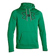Mens Under Armour Fleece Storm Outline Big Logo Hoody Long Sleeve No Zip Technical Tops