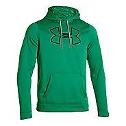 Mens Under Armour Fleece Storm Outline Big Logo Hoody Long Sleeve No Zip Technical Tops