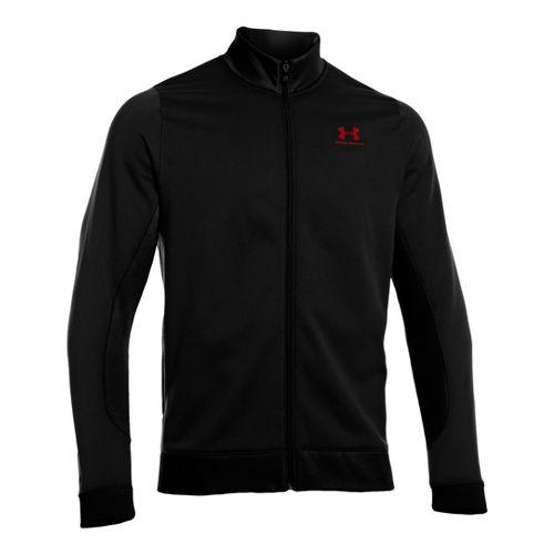Mens Under Armour Fleece Storm Running Jackets - Black/Red XL