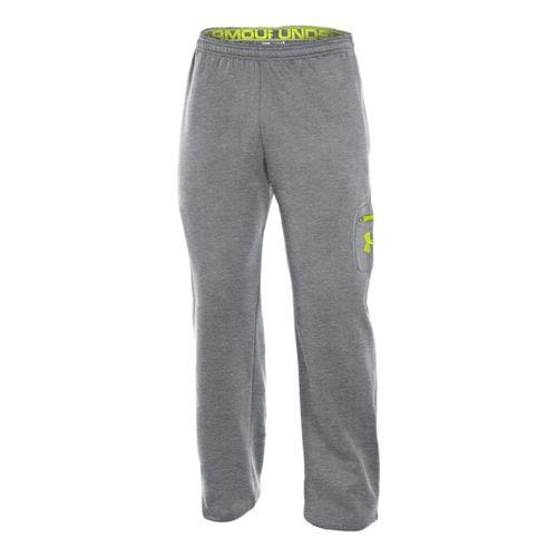 Mens Under Armour Fleece Patch Pocket Full Length Pants - True Grey Heather/High Vis Yellow ...