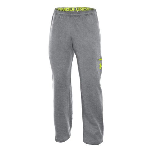 Mens Under Armour Fleece Patch Pocket Full Length Pants - True Grey Heather/High Vis Yellow ...