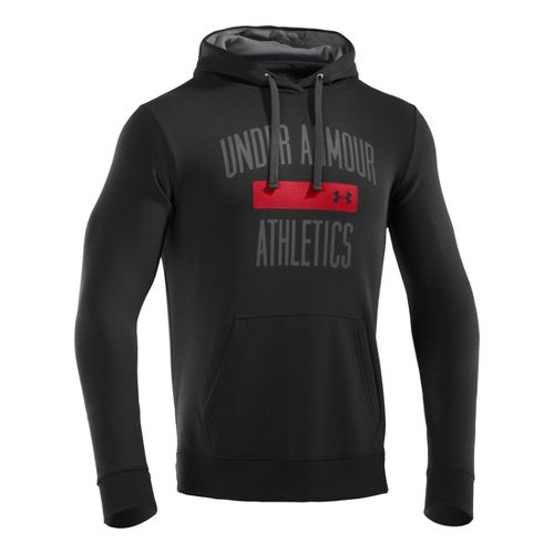 Mens Under Armour Storm Cotton Battle Hoody Long Sleeve No Zip Technical Tops - Black/Graphite ...