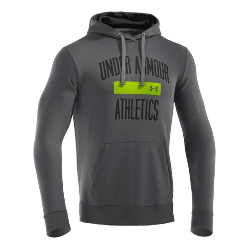 Mens Under Armour Storm Cotton Battle Hoody Long Sleeve No Zip Technical Tops - Graphite/Black ...