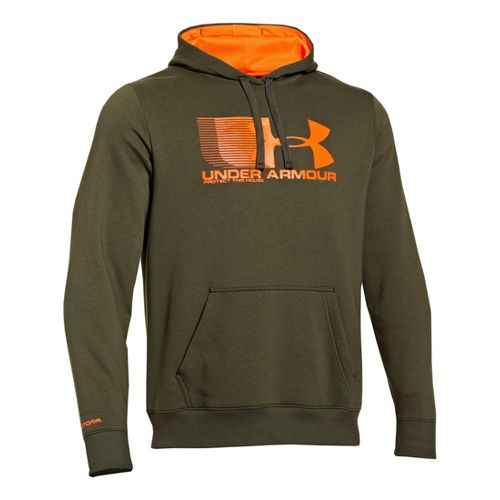 Mens Under Armour Storm Cotton Battle Hoody Long Sleeve No Zip Technical Tops - Rough/Blaze ...