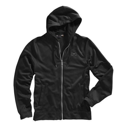 Mens Under Armour Tech Fleece Full Zip Hoody Running Jackets - Black/Graphite S
