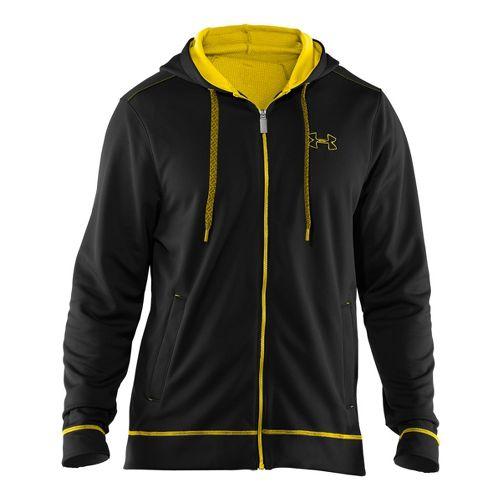 Mens Under Armour Tech Fleece Full Zip Hoody Running Jackets - Black/Solar XXL