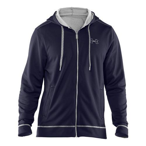 Mens Under Armour Tech Fleece Full Zip Hoody Running Jackets - Midnight Navy/White XXL