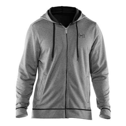 Mens Under Armour Tech Fleece Full Zip Hoody Running Jackets - True Grey Heather/Black S ...