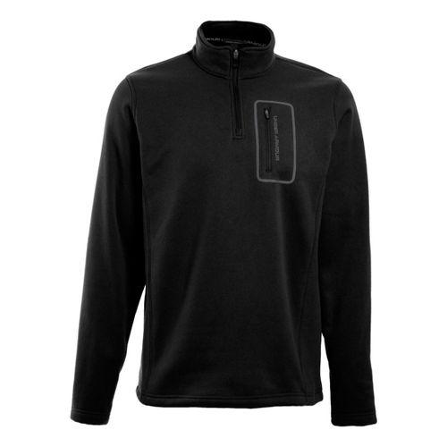 Mens Under Armour XCG Lite Microfleece 1/4 Zip Long Sleeve Technical Tops - Black/Graphite S ...