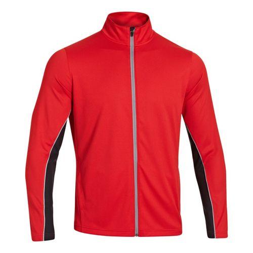 Mens Under Armour Reflex Warm-Up Running Jackets - Red/Steel M