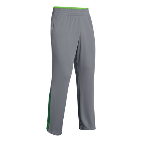 Mens Under Armour Reflex Warm-Up Full Length Pants - Steel/Green L