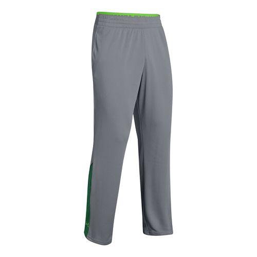 Mens Under Armour Reflex Warm-Up Full Length Pants - Steel/Green M