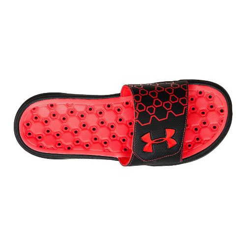 Mens Under Armour Playmaker III SL Sandals Shoe - Black/Red 8