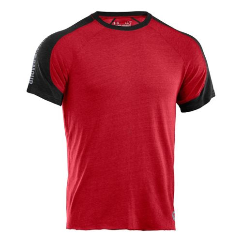 Mens Under Armour Charged Cotton Contender T Short Sleeve Technical Tops - Red/Black L