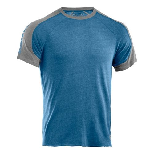 Mens Under Armour Charged Cotton Contender T Short Sleeve Technical Tops - Water/Midnight Navy ...