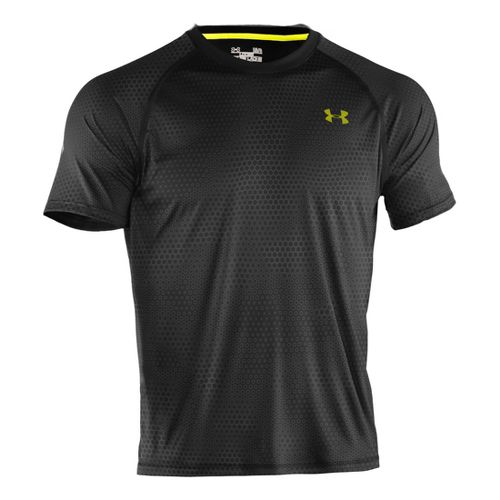 Mens Under Armour Tech Emboss T Short Sleeve Technical Tops - Black/High Vis Yellow L ...