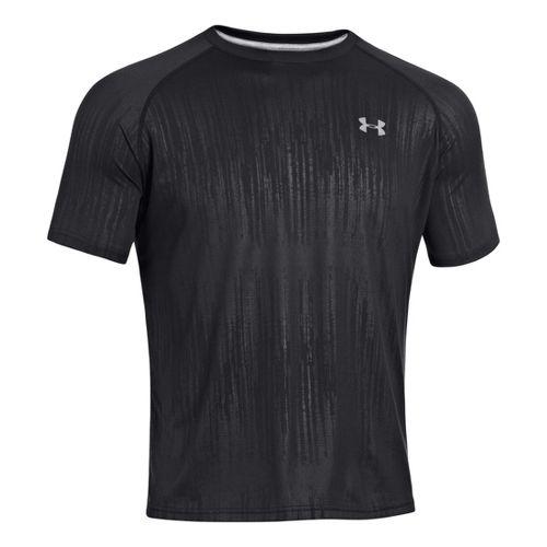 Mens Under Armour Tech EmboT Short Sleeve Technical Tops - Black/Steel XXL