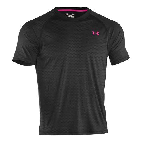 Mens Under Armour Tech EmboT Short Sleeve Technical Tops - Black/Tropic Pink XL