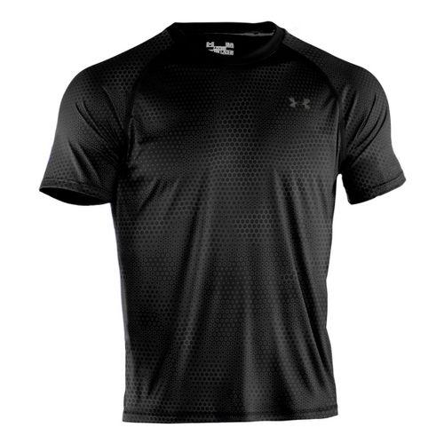 Mens Under Armour Tech Emboss T Short Sleeve Technical Tops - Black/White L