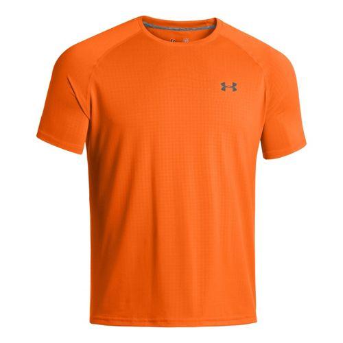 Mens Under Armour Tech Emboss T Short Sleeve Technical Tops - Blaze Orange/Black S