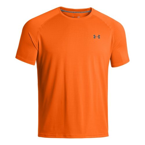 Mens Under Armour Tech Emboss T Short Sleeve Technical Tops - Blaze Orange/Black XXXL