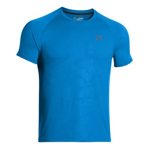 Mens Under Armour Tech Emboss T Short Sleeve Technical Tops - Electric Blue/Black XL