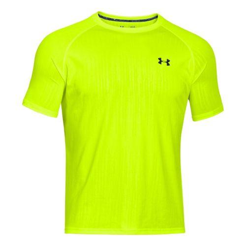 Mens Under Armour Tech Emboss T Short Sleeve Technical Tops - High Vis Yellow/Academy M ...